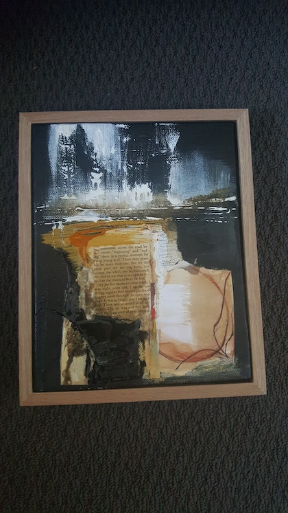 (CreativeWork) Somewhere along the road between the beginning and End  by Jane McCumstie. mixed-media. Shop online at Bluethumb.