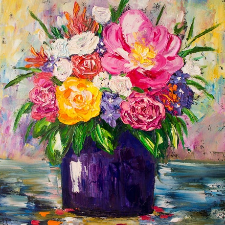 (CreativeWork) Positive flowers by Anastasiia Sutula. Oil Paint. Shop online at Bluethumb.