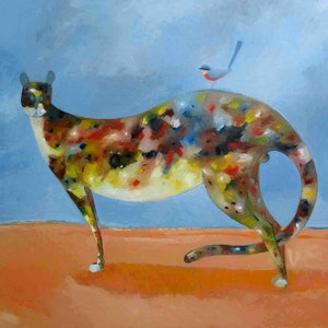 (CreativeWork) The Cat and the Wren - Best Friends  by John Graham. oil-painting. Shop online at Bluethumb.