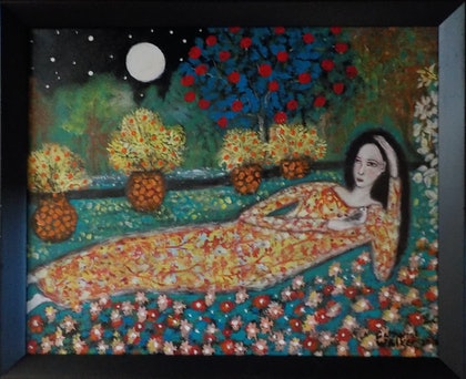 """(CreativeWork) """" Peace in the  Garden""""  by catherine walker. arcylic-painting. Shop online at Bluethumb."""