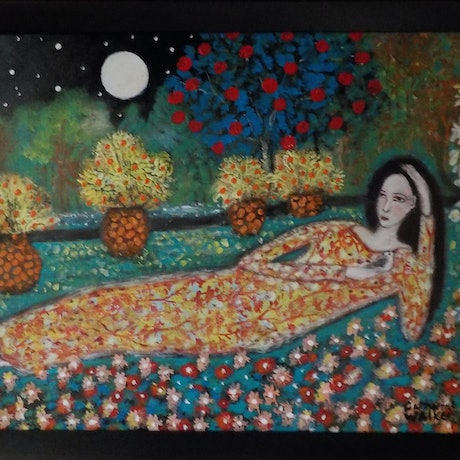 "(CreativeWork) "" Peace in the  Garden""  by Catherine Walker. Acrylic Paint. Shop online at Bluethumb."
