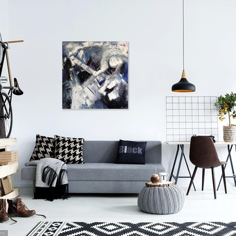 "(CreativeWork) ""Guitar Man - Resonance""  - large canvas abstract expression urban industrial street contemporary modern art 100cm x 100cm love music lounge by Marion Parker. Oil Paint. Shop online at Bluethumb."