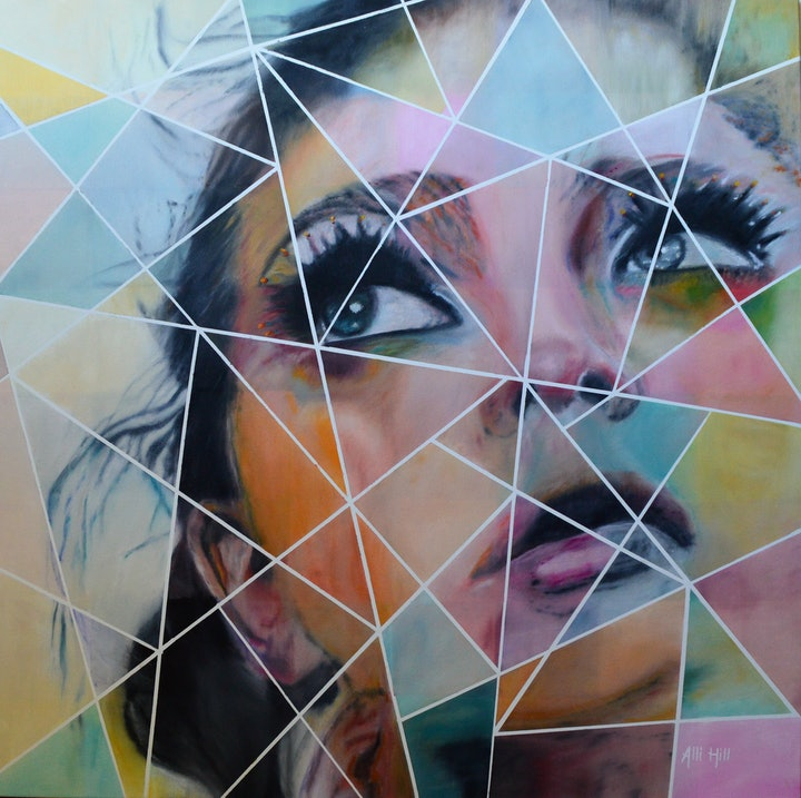 (CreativeWork) Geometric by Alli Hill. oil-painting. Shop online at Bluethumb.