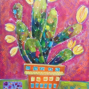 (CreativeWork) Potted Cactus 1 by Vanessa Black. mixed-media. Shop online at Bluethumb.