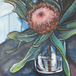 (CreativeWork) Coffee shop Protea by Michelle Pujol. oil-painting. Shop online at Bluethumb.