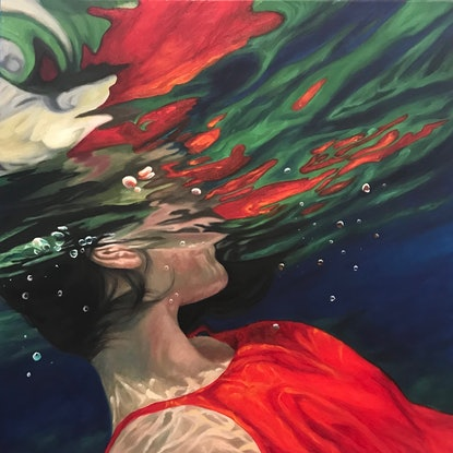 (CreativeWork) The Space Between by Amanda Cameron. Oil Paint. Shop online at Bluethumb.