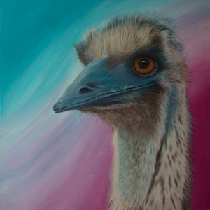 """(CreativeWork) """"OLD MAN EMU"""" by Lynne Gehrke. arcylic-painting. Shop online at Bluethumb."""