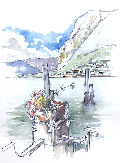 (CreativeWork) Menaggio , Lake Como , Italy by Geoff Stanistreet. watercolour. Shop online at Bluethumb.