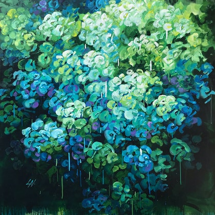 (CreativeWork) DEPTH OF A GARDEN by Lily Nova. arcylic-painting. Shop online at Bluethumb.