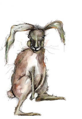 (CreativeWork) Good hare day by Jenny Wood. Drawing. Shop online at Bluethumb.