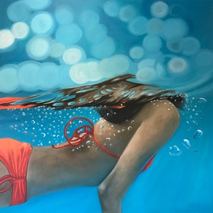 (CreativeWork) Orange Bubble Up by Amanda Cameron. oil-painting. Shop online at Bluethumb.