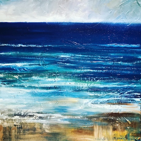 (CreativeWork) Coastal walk by Rebecca Brennan. Oil Paint. Shop online at Bluethumb.