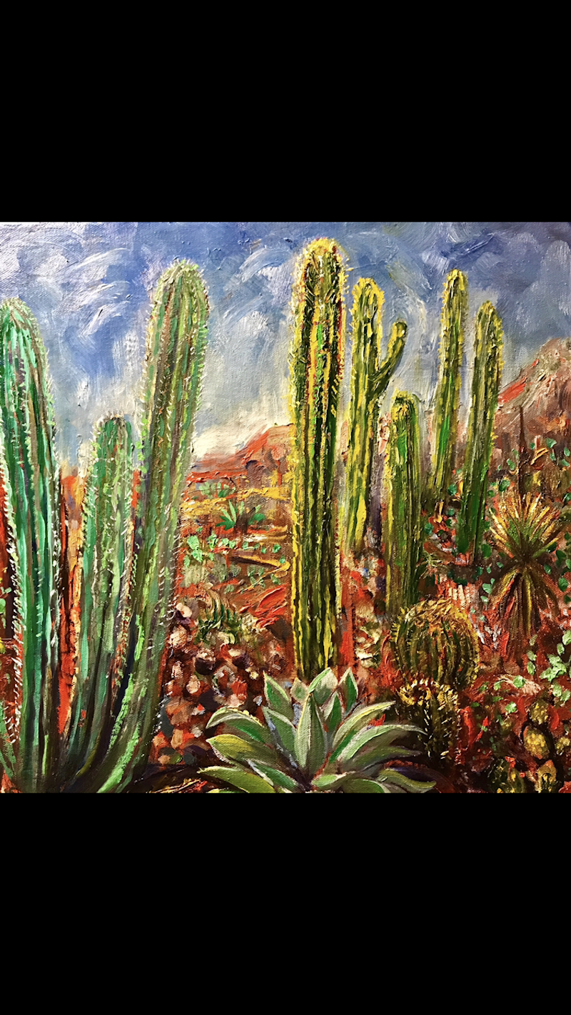 (CreativeWork) Cactus garden by Rebecca Brennan. oil-painting. Shop online at Bluethumb.