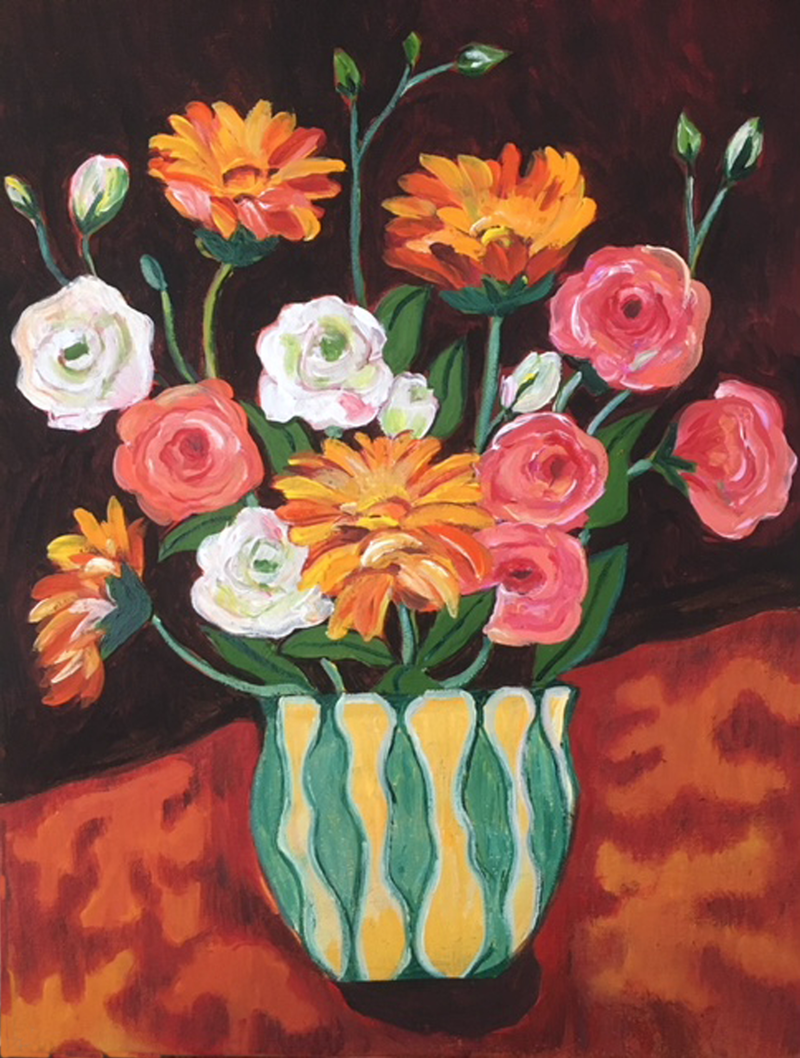 (CreativeWork) Vintage Vase with Blooms by Natasha Ruffio. arcylic-painting. Shop online at Bluethumb.