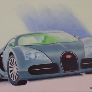 (CreativeWork) Bugatti Veyron by Jacqueline Pearsell. oil-painting. Shop online at Bluethumb.