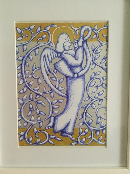 (CreativeWork) Angel Silver and Gold June 2018 by Donna Huntriss. drawing. Shop online at Bluethumb.