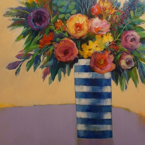 (CreativeWork) PETALS AND STRIPES by Sandra Michele Knight. arcylic-painting. Shop online at Bluethumb.