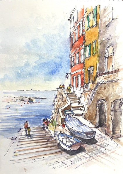 (CreativeWork) Riomaggiore, Cinque -Terre , Italy by Geoff Stanistreet. watercolour. Shop online at Bluethumb.