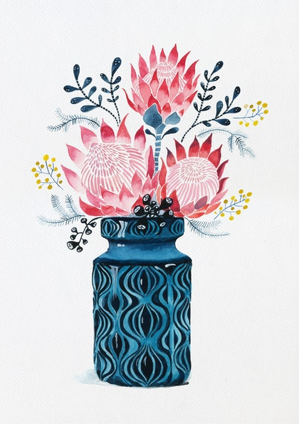 (CreativeWork) Pink Proteas in West German Onion Vase Ed. 17 of 25 by Sally Browne. print. Shop online at Bluethumb.