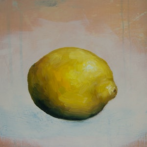 (CreativeWork)  Lemon #21 by Damien Venditti. oil-painting. Shop online at Bluethumb.