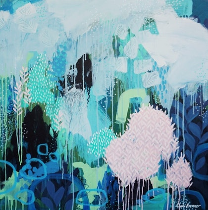 (CreativeWork) Dreaming While Awake abstract expressionist painting by clair bremner by Clair Bremner. arcylic-painting. Shop online at Bluethumb.