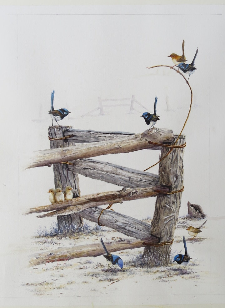 (CreativeWork) Blue Birds of Happiness by Trevor Hancox. watercolour. Shop online at Bluethumb.