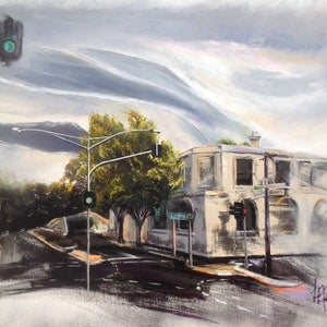 (CreativeWork) Clouds Over Castlemaine by Lesley Rosochodski. oil-painting. Shop online at Bluethumb.