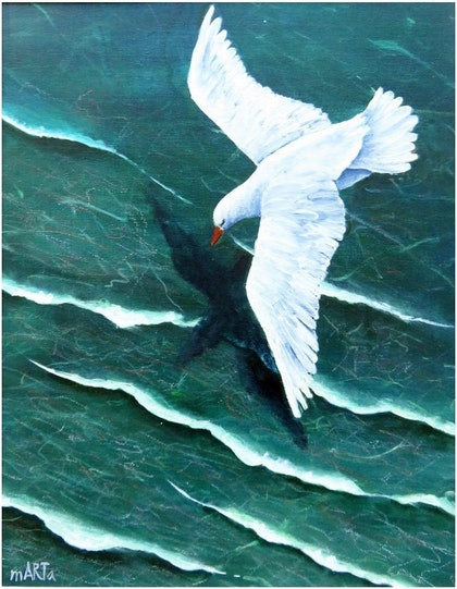 (CreativeWork) Soaring above the Waters by Marta Blaszak-Just. arcylic-painting. Shop online at Bluethumb.