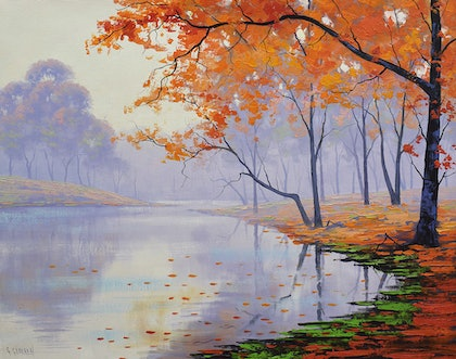 (CreativeWork) Misty Autumn Lake by Graham Gercken. oil-painting. Shop online at Bluethumb.