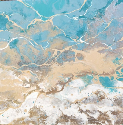 (CreativeWork) Silver Seas by Amy Basnett. Acrylic Paint. Shop online at Bluethumb.