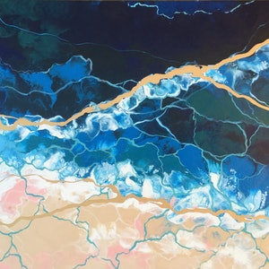 (CreativeWork) Golden Tide by Amy Basnett. acrylic-painting. Shop online at Bluethumb.