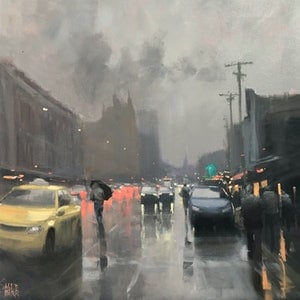 (CreativeWork) Yellow Taxi - Brunswick Street by Mike Barr. oil-painting. Shop online at Bluethumb.