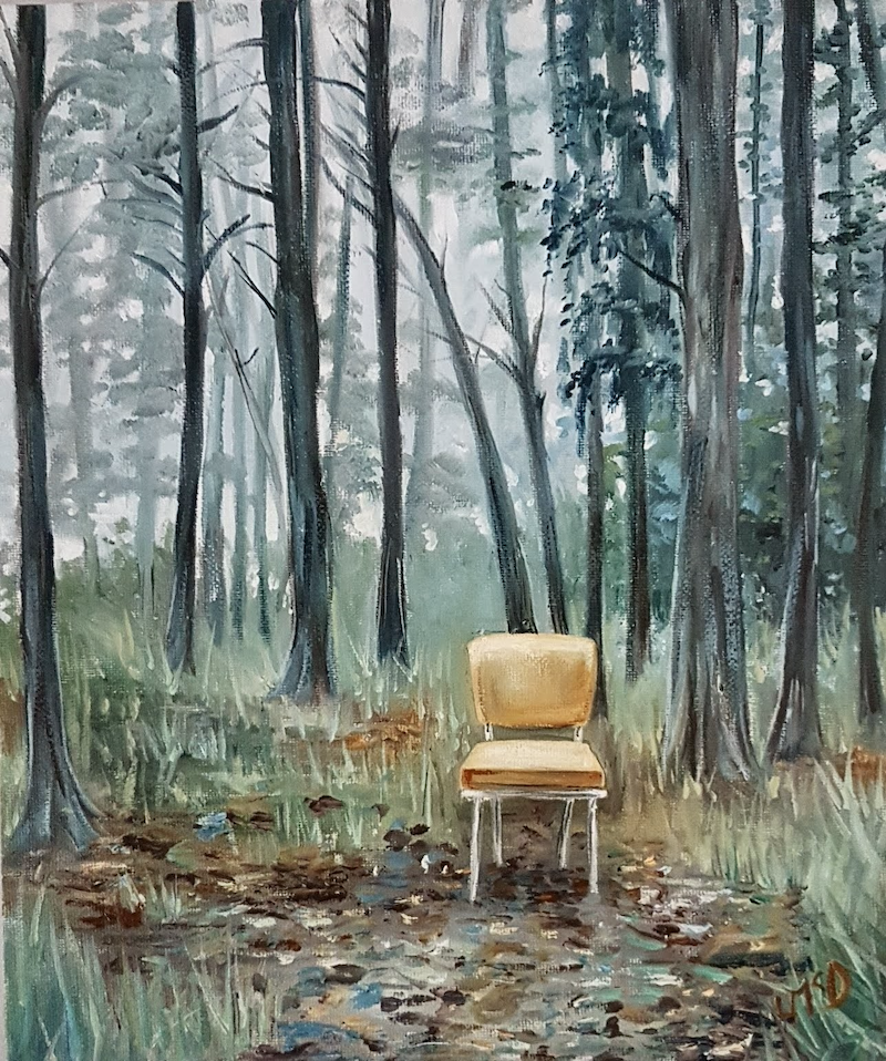 (CreativeWork) Chair In The Forest by Llael McDonald. oil-painting. Shop online at Bluethumb.