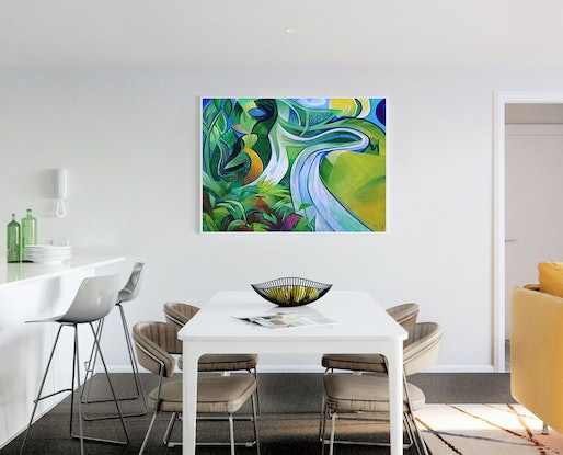 (CreativeWork) The River at Berrima by _ Tillian _. Acrylic Paint. Shop online at Bluethumb.