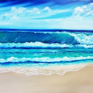 (CreativeWork) Ocean Bliss by Simonne Moodie. oil-painting. Shop online at Bluethumb.