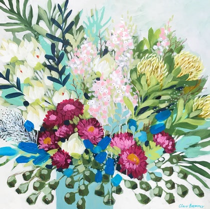 (CreativeWork) Paper Dasies and Protea 1, floral still life by Clair Bremner  by Clair Bremner. arcylic-painting. Shop online at Bluethumb.