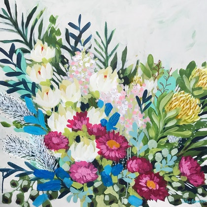 (CreativeWork) Paper Dasies and Protea 2, expressive still life by Clair Bremner  by Clair Bremner. arcylic-painting. Shop online at Bluethumb.