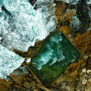 (CreativeWork) Rock swimming pool (smaller) Ed. 3 of 300 by Stuart Chape. photograph. Shop online at Bluethumb.