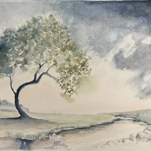 (CreativeWork) Winter Tree by Lucinda Leveille. watercolour. Shop online at Bluethumb.