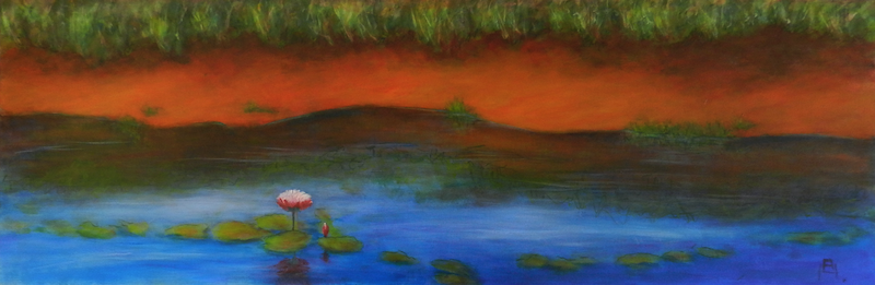 (CreativeWork) Last Light by Anne Huth. Acrylic Paint. Shop online at Bluethumb.
