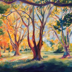 (CreativeWork) Hyde Park Perth in Autumn III (2018)  by Huixin Su. arcylic-painting. Shop online at Bluethumb.