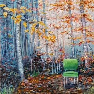 (CreativeWork) Old Kitchen Chair by Llael McDonald. oil-painting. Shop online at Bluethumb.