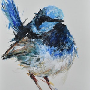 (CreativeWork) Fairywren by Rebecca Hill. mixed-media. Shop online at Bluethumb.