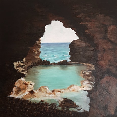 (CreativeWork) The Grotto by Debbie Brophy. Acrylic Paint. Shop online at Bluethumb.