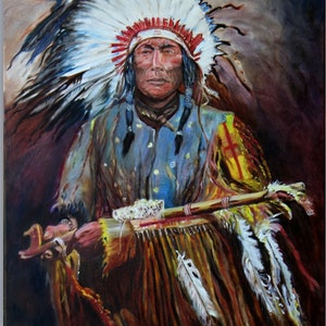 (CreativeWork) The Peace Pipe by Gerard Mignot. oil-painting. Shop online at Bluethumb.