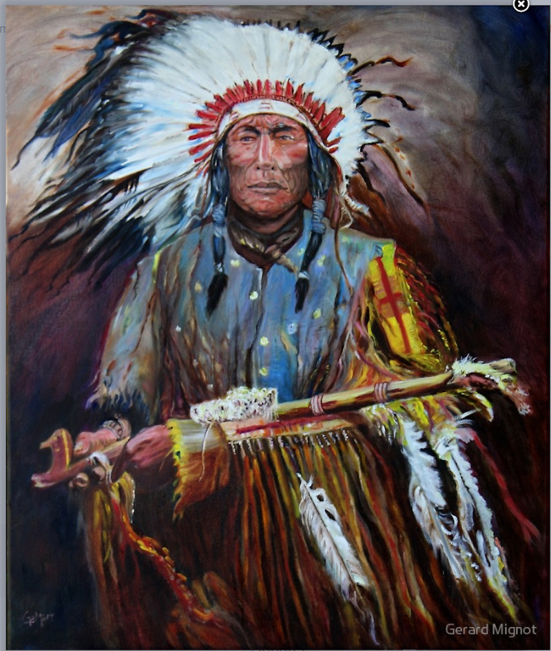 (CreativeWork) The Peace Pipe by Gerard Mignot. Oil Paint. Shop online at Bluethumb.