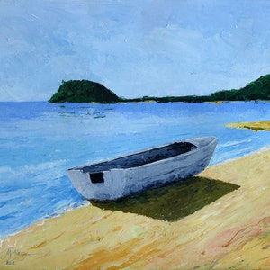 (CreativeWork) Beached Dinghy by John N Mason. arcylic-painting. Shop online at Bluethumb.