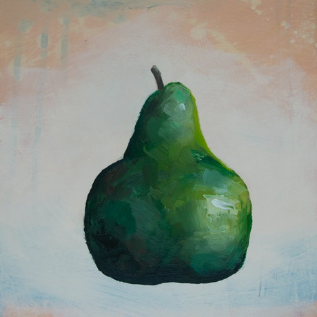 (CreativeWork) Still life Pear #7 by Damien Venditti. Oil Paint. Shop online at Bluethumb.