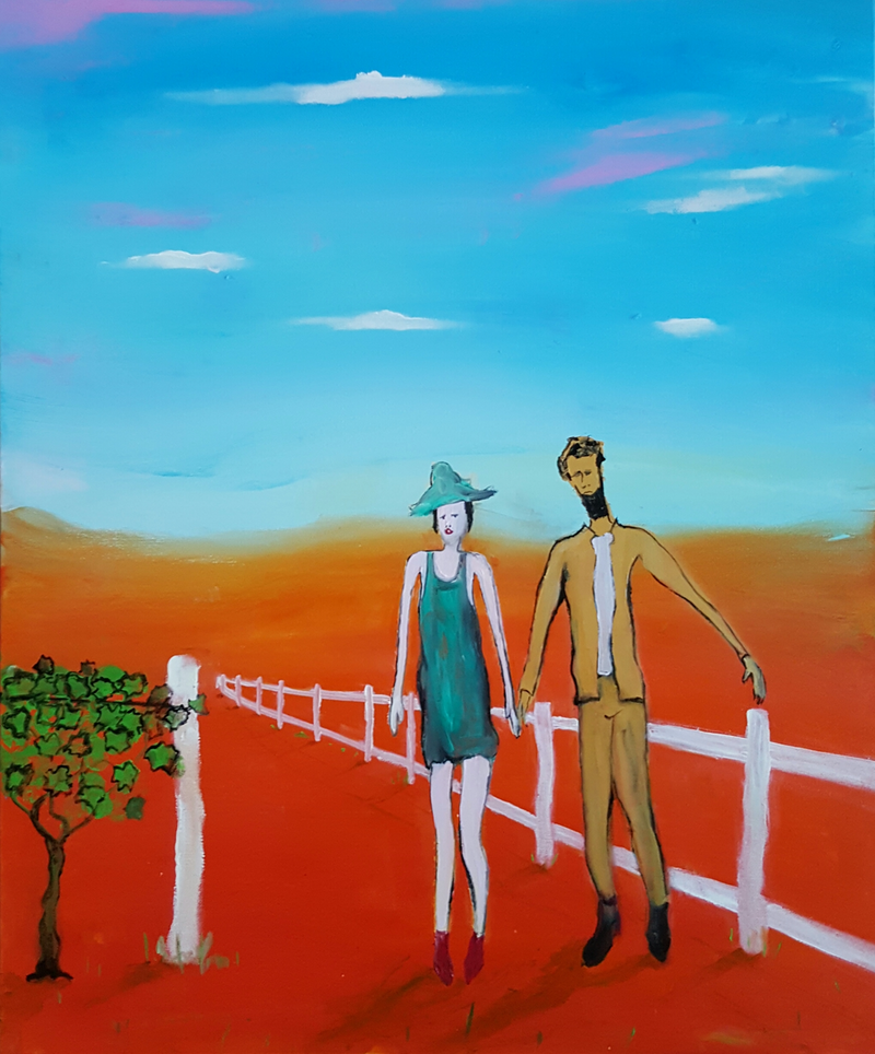 (CreativeWork)   Courtship by Little Heath. oil-painting. Shop online at Bluethumb.