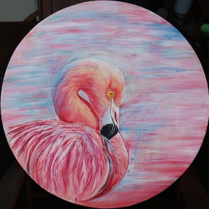 (CreativeWork) FLAMINGO by Lily Iris. arcylic-painting. Shop online at Bluethumb.